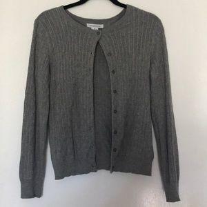 M Gray Liz Claiborne Button-up Cardigan Sweater